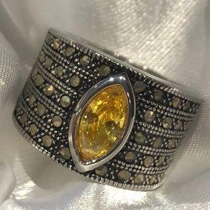 Yellow CZ Diamond Marcasite Ring NWOTS